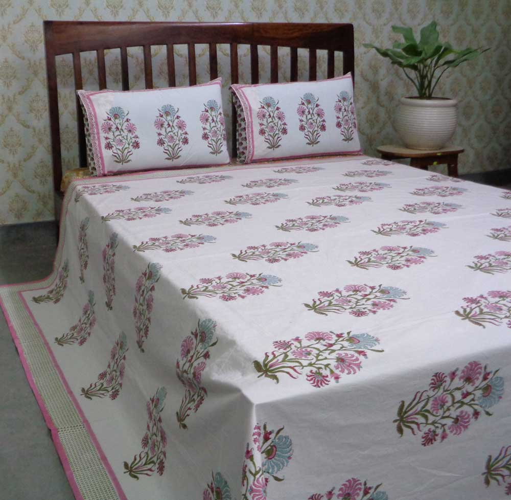 Hand Block Printed Cotton Percale Queen Size Bedspread | 106673