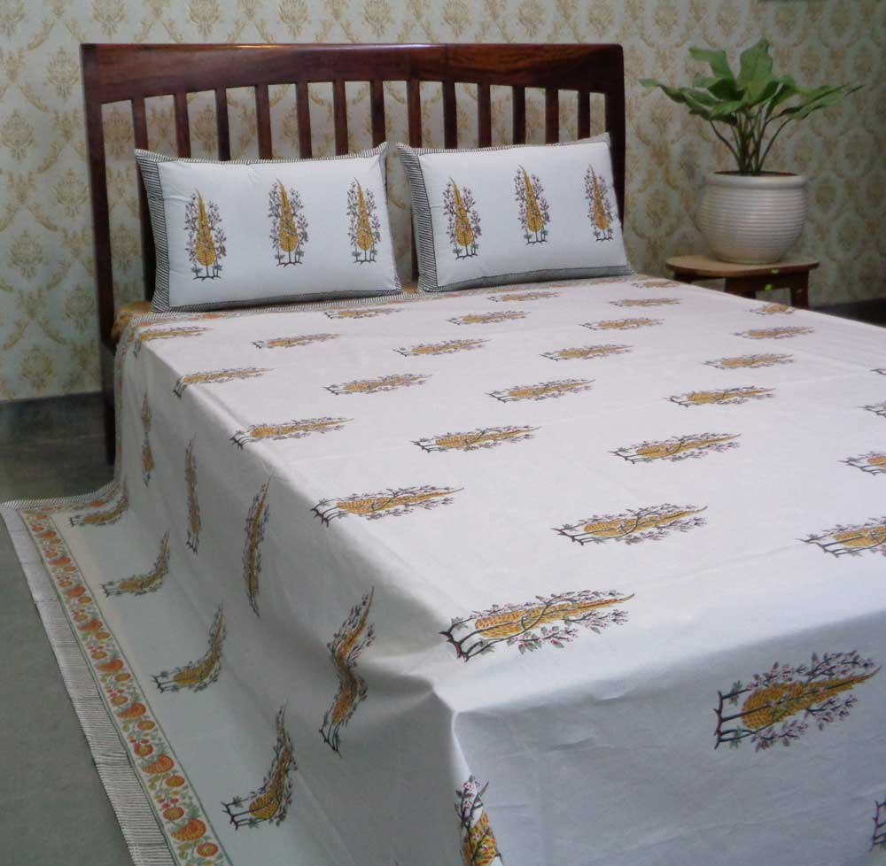 Hand Block Printed Cotton Percale Queen Size Bedspread | 106697