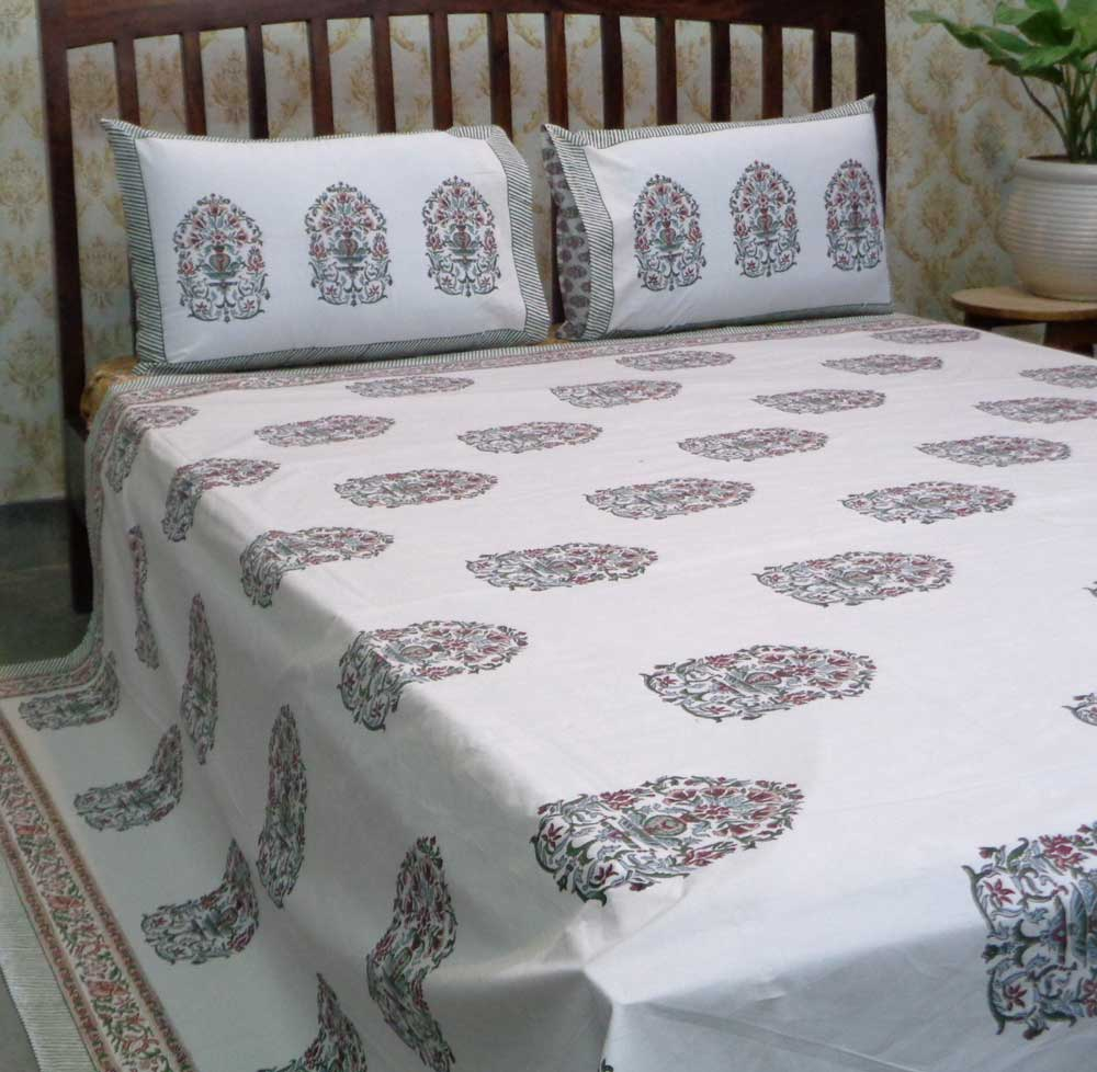 Hand Block Printed Cotton Percale Queen Size Bedspread | 106719