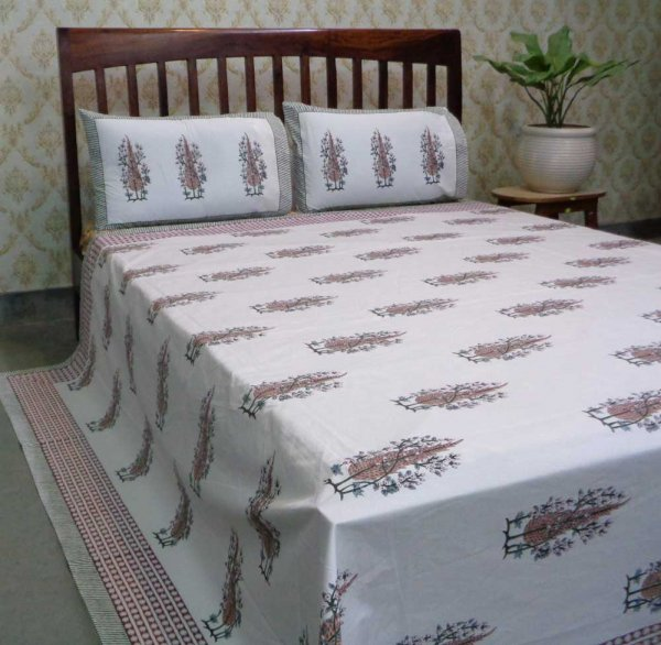 Hand Block Printed Cotton Percale Queen Size Bedspread | 106726