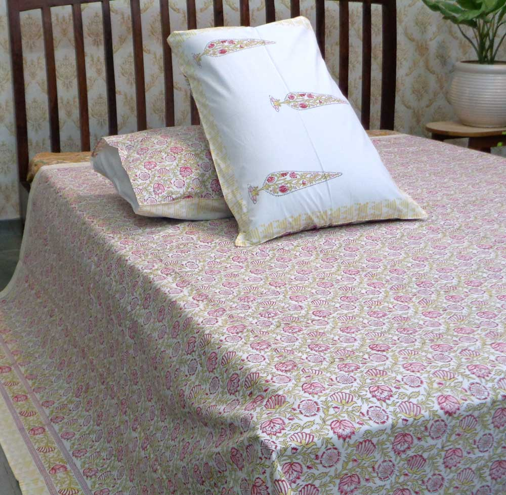 Hand Block Printed Cotton Percale Queen Size Bedspread | 106793