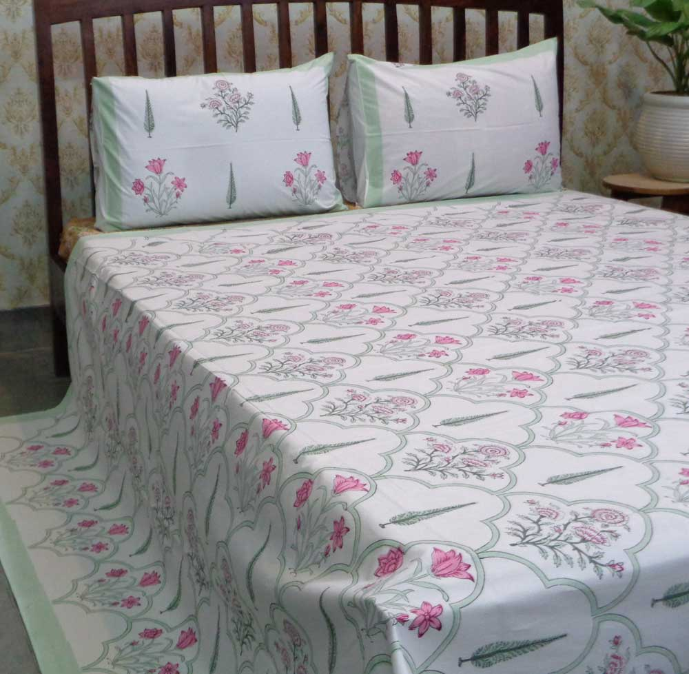 Hand Block Printed Cotton Percale Queen Size Bedspread | 106837