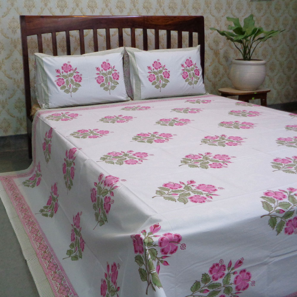 Hand Block Printed Cotton Percale Queen Size Bedspread | 106864