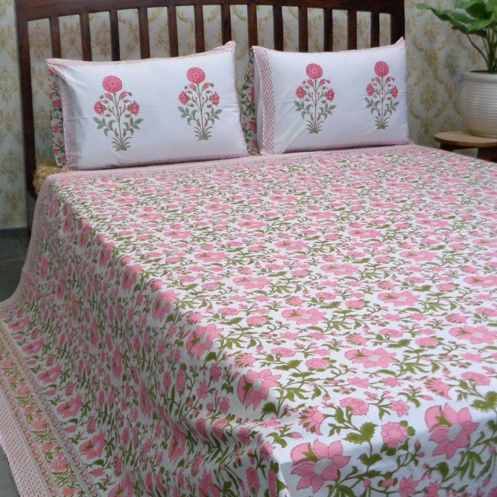 Hand Block Printed Cotton Percale Queen Size Bedspread | 106926