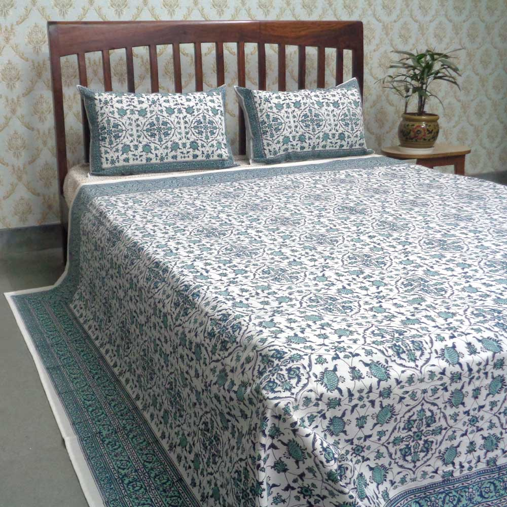 Cotton Block Printed Queen Size Bedspread | Egyptial Paisley 101268