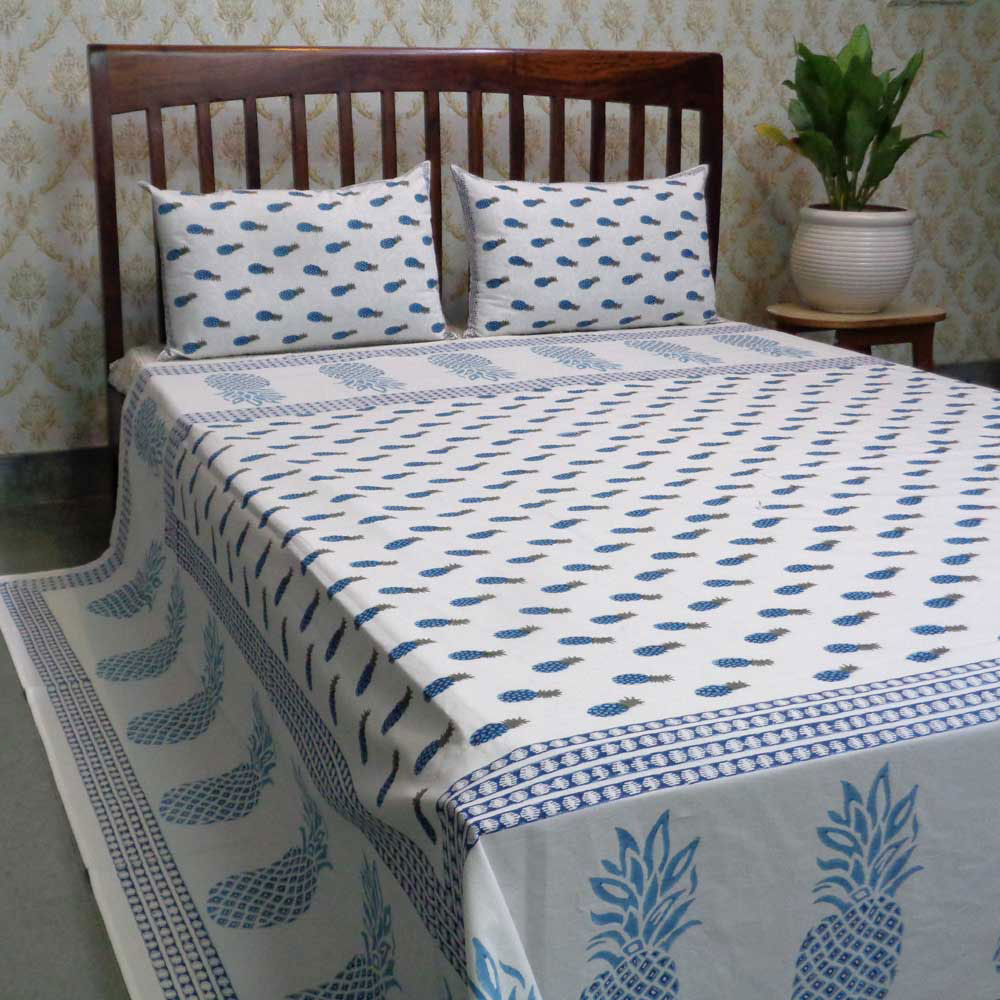 Hand Block Printed Cotton Queen Size Bedspread | 101381