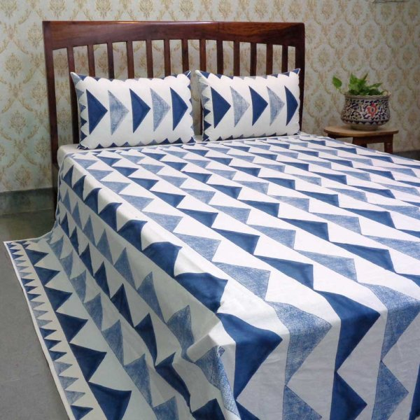 Hand Block Printed Cotton Queen Size Bedspread | 103322