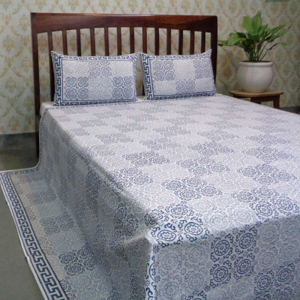 Hand Block Printed Cotton Queen Size Bedspread | 104488