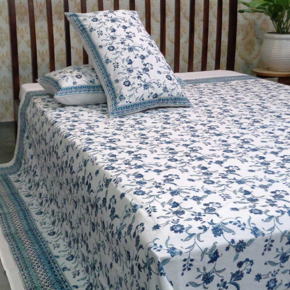 Hand Block Printed Cotton Queen Size Bedspread | 104515