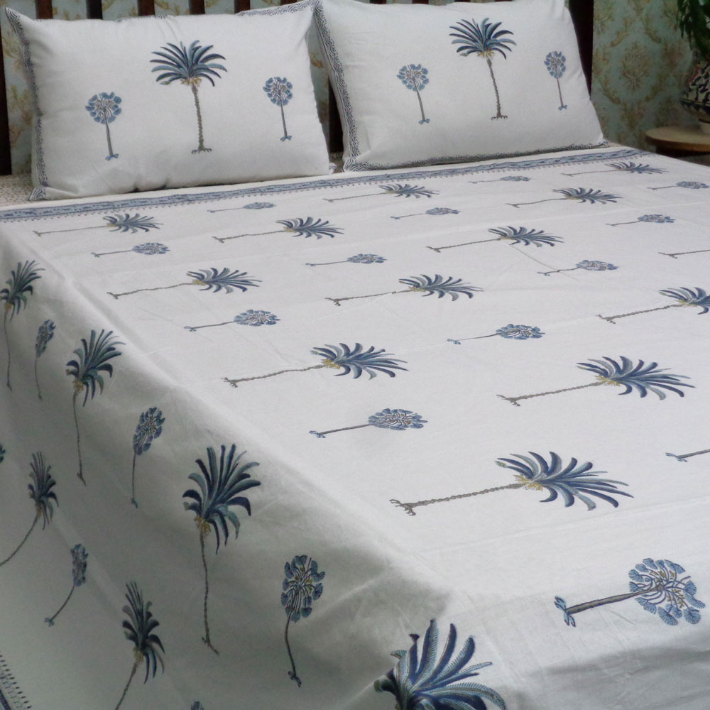 Cotton Block Printed Queen Size Bedspread | Palm Tree Blue 105278