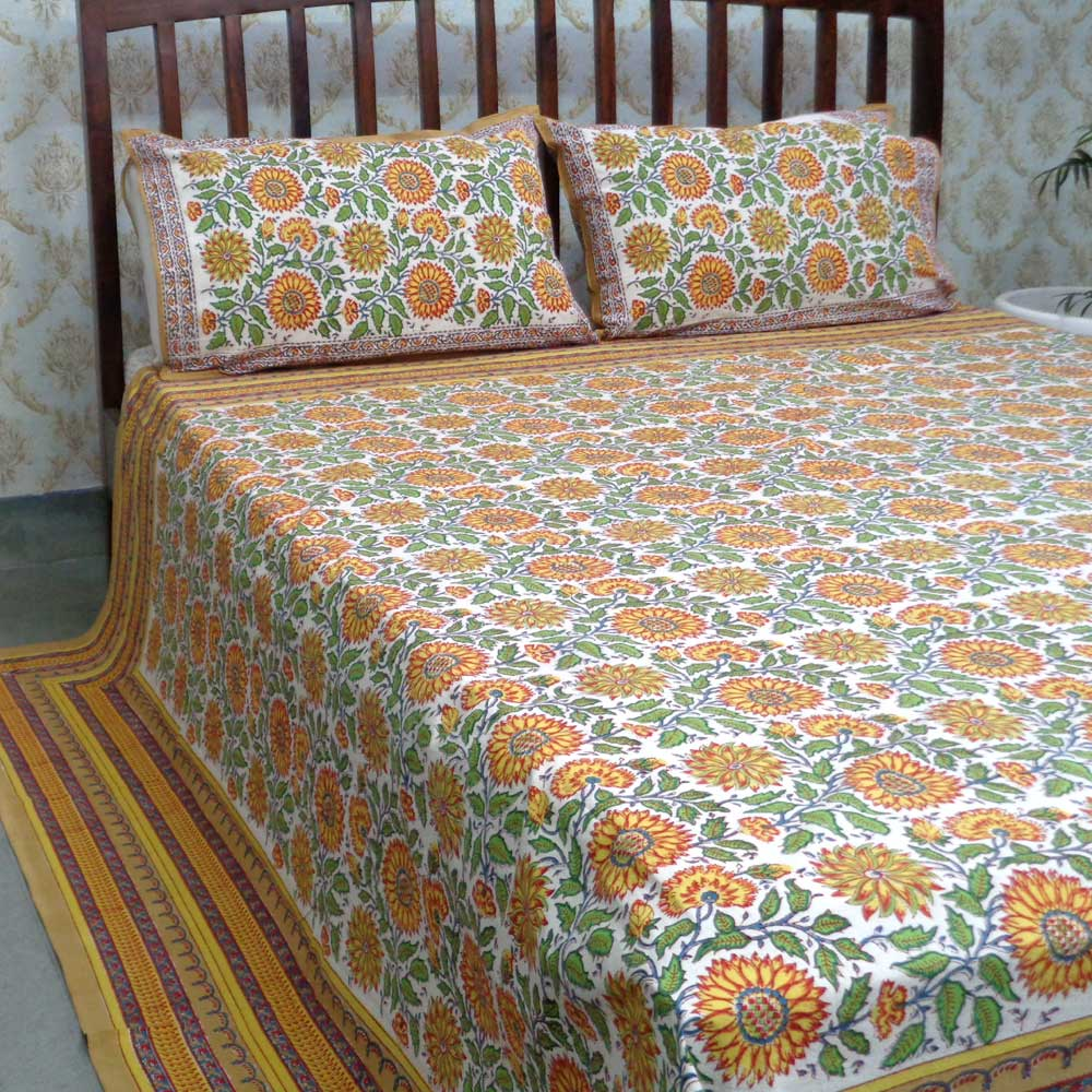 Cotton Block Printed Queen Size Bedspread | Surajmukhi Canary Open 105914