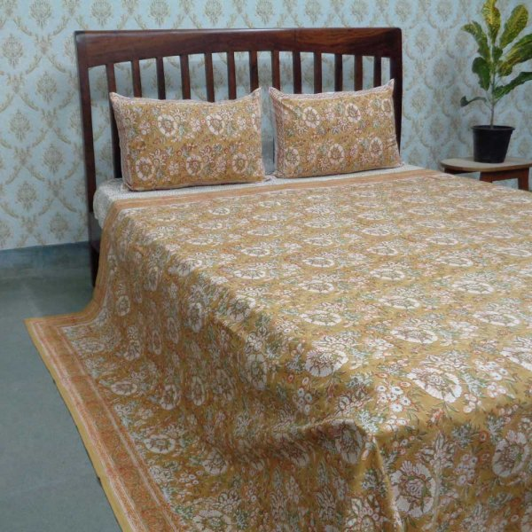 Design 108302 Cotton Block Printed Queen Size Bedspread