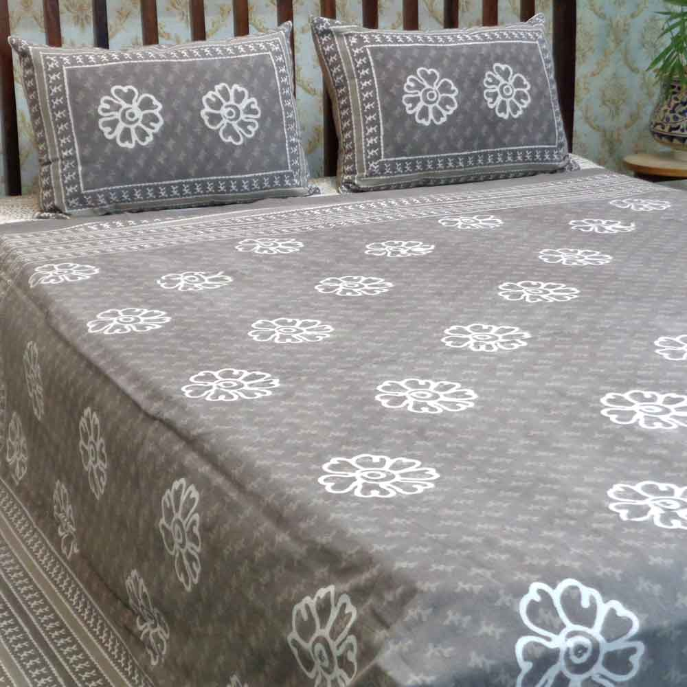 Design 2024 Cotton Block Printed Queen Size Bedspread