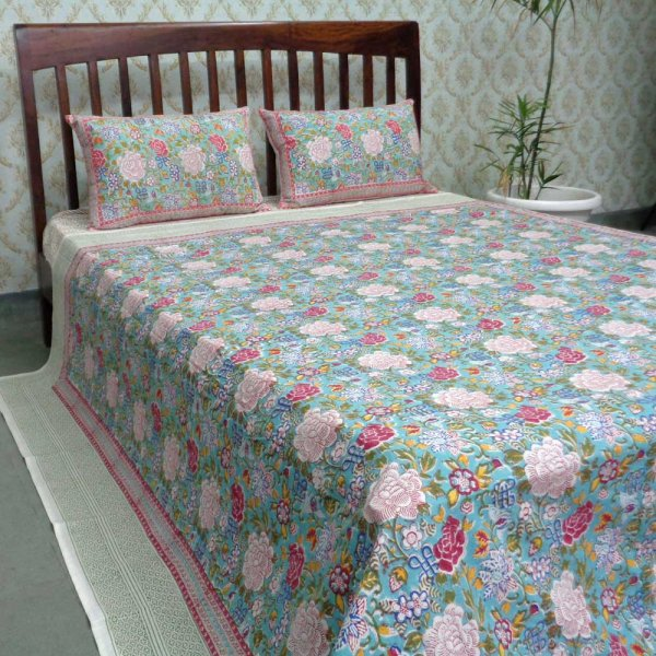Hand Block Printed Cotton Queen Size Bedspread | Floral Canvas Blue Jade 6821