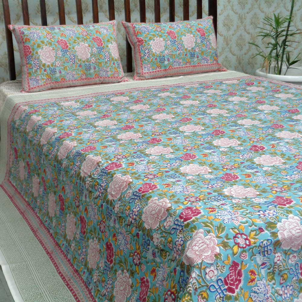 Cotton Block Printed Queen Size Bedspread | Floral Canvas Blue Jade 6821