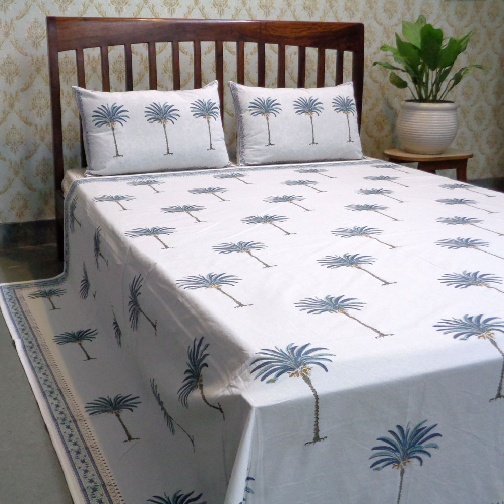 Cotton Block Printed Queen Size Bedspread | Palm Tree Blue 102709