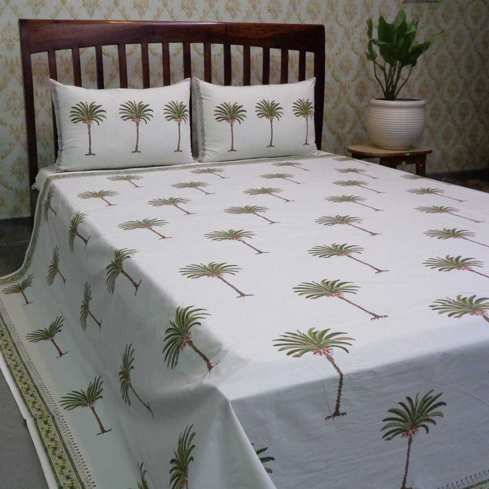 Hand Block Printed Cotton Queen Size Bedspread | Palm Tree Green 100384