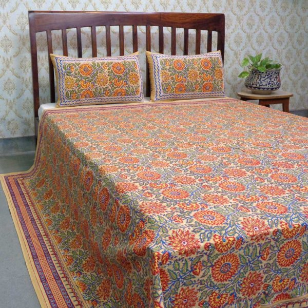 Hand Block Printed Cotton Queen Size Bedspread | Surajmukhi Canary Gud 203788
