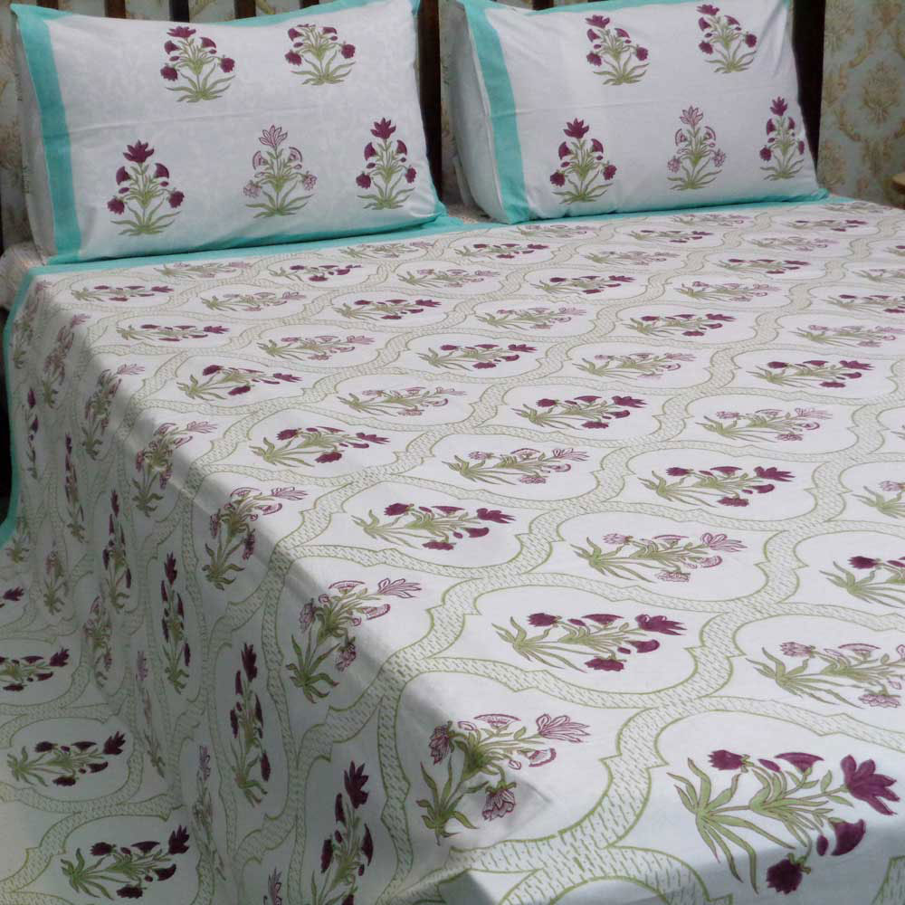 Hand Block Printed Cotton Percale Queen Size Bedspread | 100357