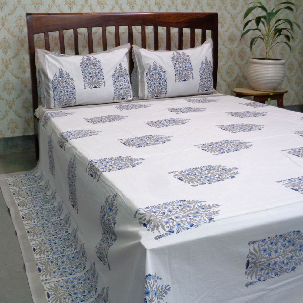 Hand Block Printed Cotton Percale Queen Size Bedspread | 100382