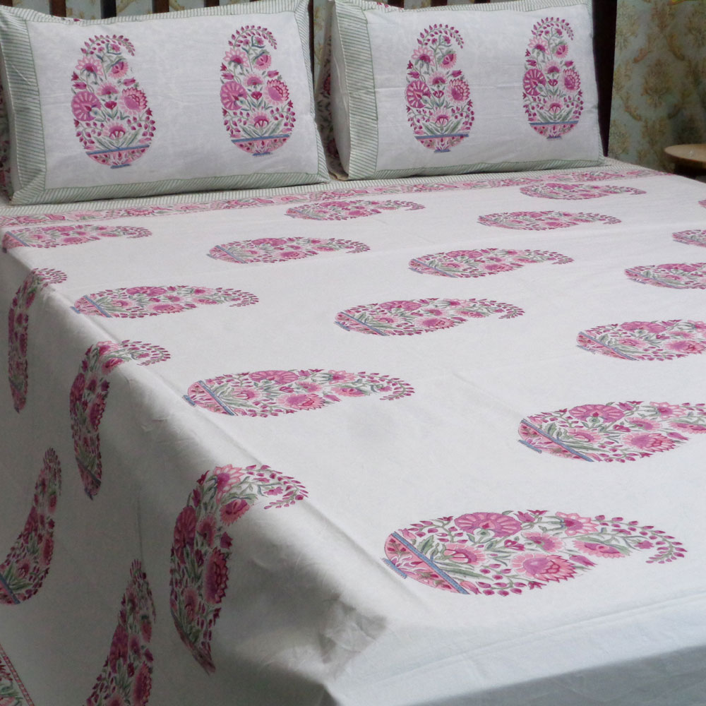 Hand Block Printed Cotton Percale Queen Size Bedspread | 101201