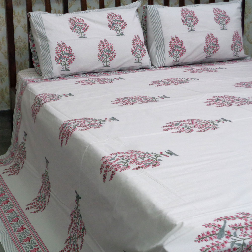 Cotton Block Printed Percale Queen Size Bedspread | 105920