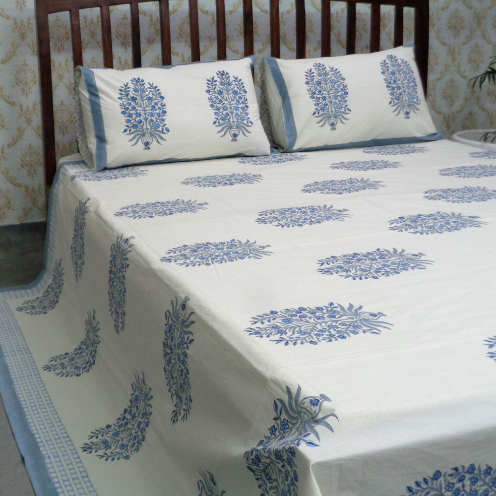 Cotton Block Printed Percale Queen Size Bedspread | 105928