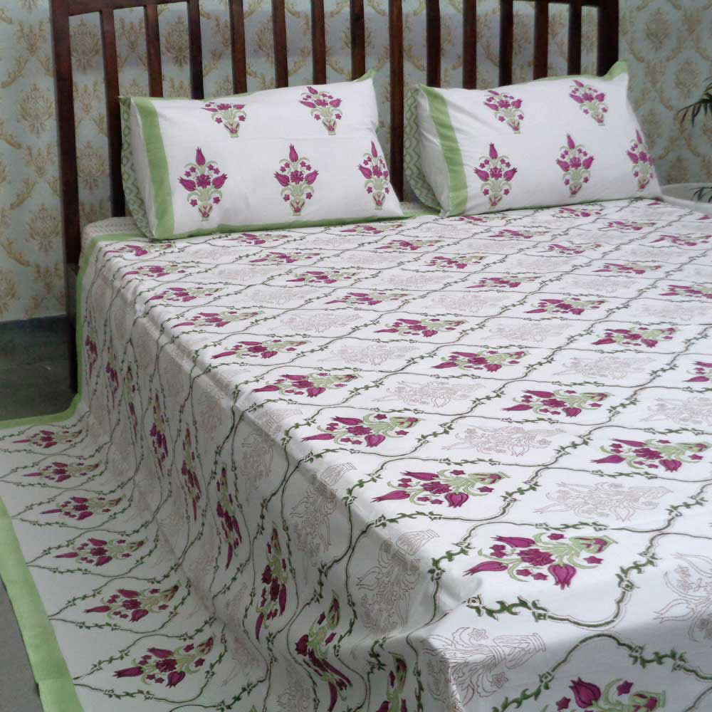 Cotton Block Printed Percale Queen Size Bedspread | 105952
