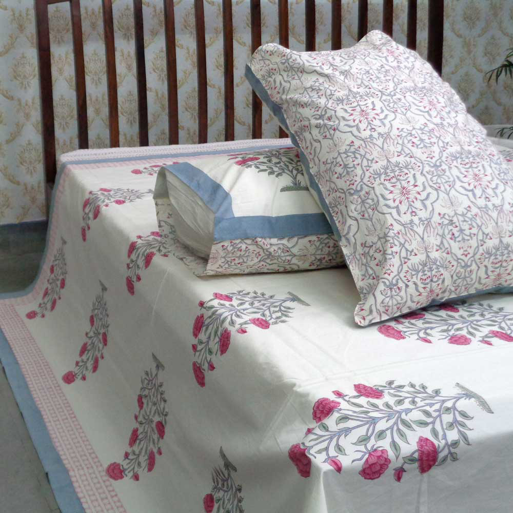 Cotton Block Printed Percale Queen Size Bedspread | 105970