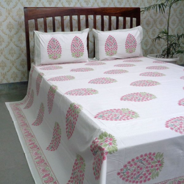 Cotton Block Printed Percale Queen Size Bedspread | 105996