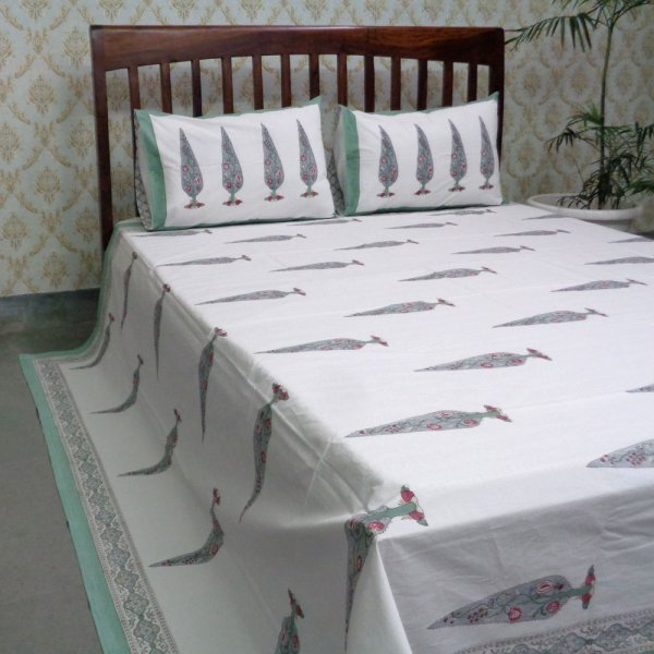 Cotton Block Printed Percale Queen Size Bedspread | 106005