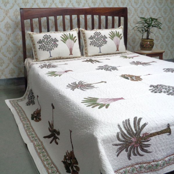 Indian Quilted Bedspread Queen Size| Banana Palm Tree 101580