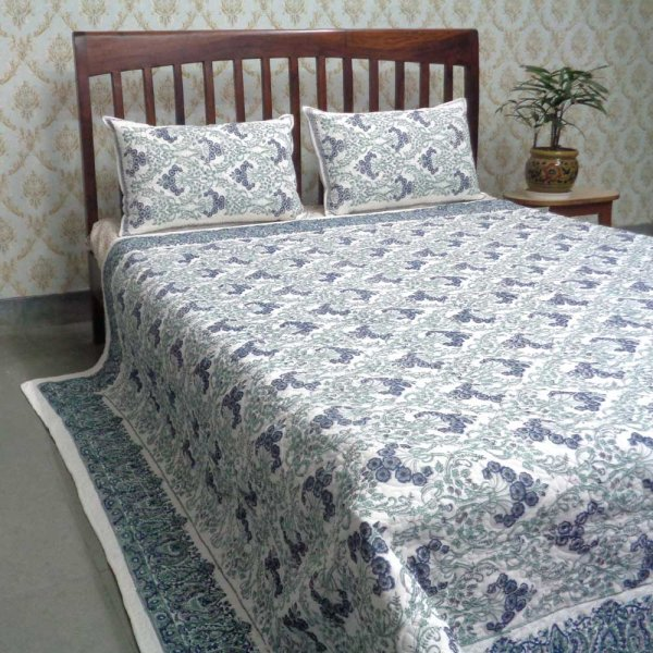 Indian Quilted Bedspread Queen Size | Design 101595 Raat ki Rani