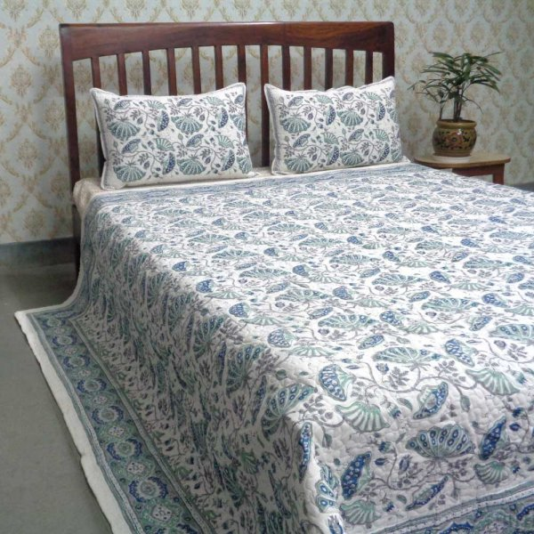 Hand Block Printed Cotton Quilted Bedspread Queen Size | Waterlily Jade Grey 101601