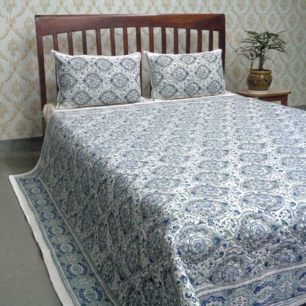 Indian Quilted Bedspread Queen Size | Mandala Jade Grey 101607