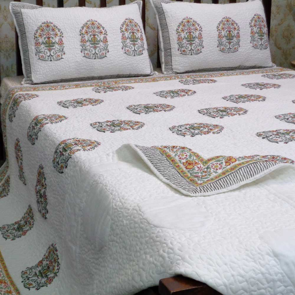 Hand Block Printed Soft Cotton Quilted Bedspread Queen Size | 103350