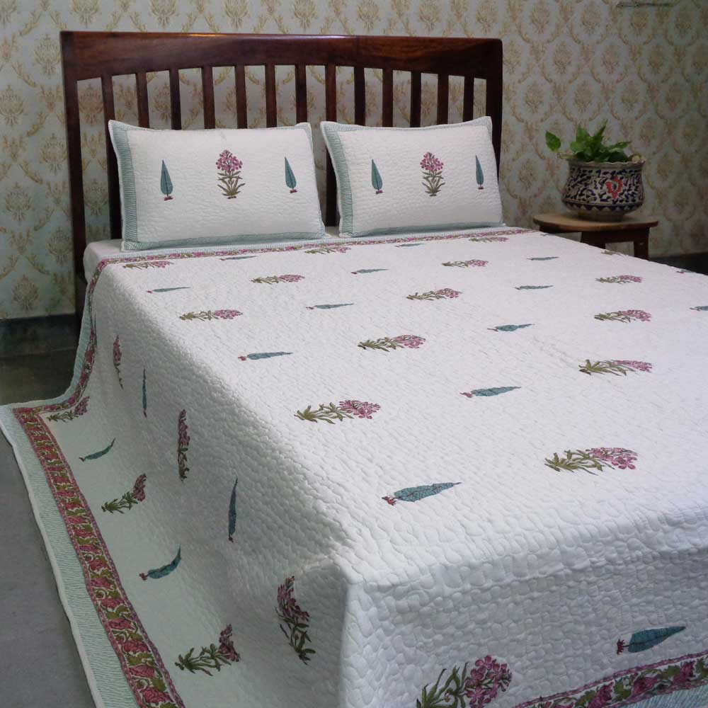 Hand Block Printed Soft Cotton Quilted Bedspread Queen Size | 103381