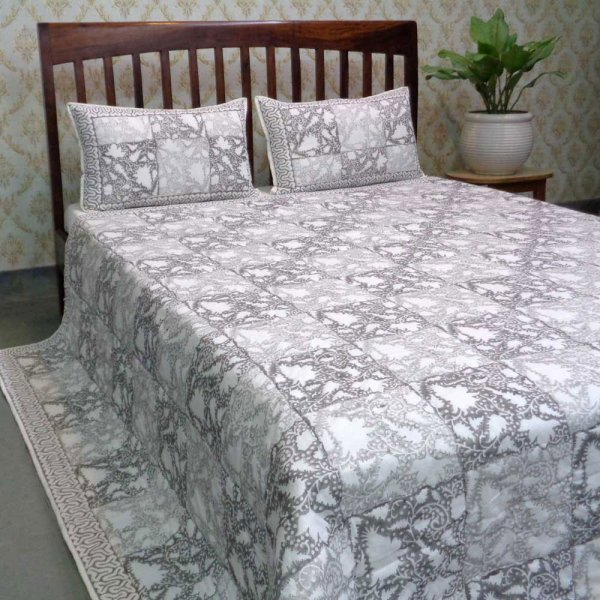 Hand Block Printed Soft Cotton Quilted Bedspread Queen Size | 103877