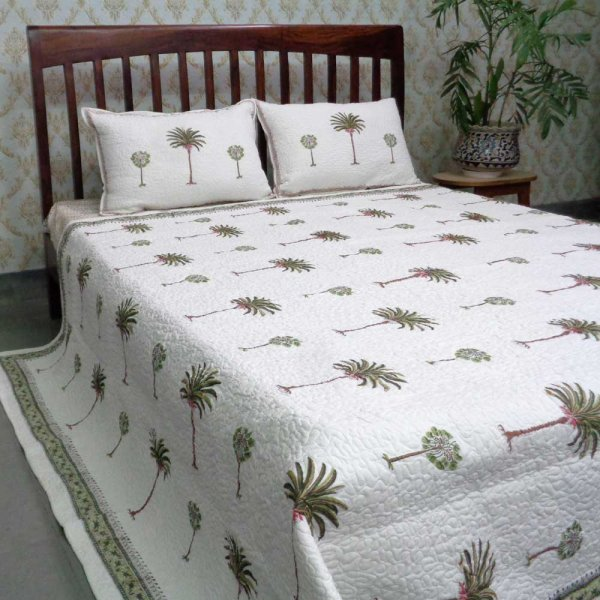 Indian Quilted Bedspread Queen Size| Palm Tree Green 105230