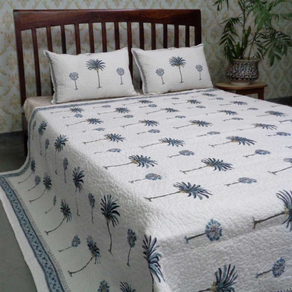 Indian Quilted Bedspread Queen Size| Palm Tree Blue 105238