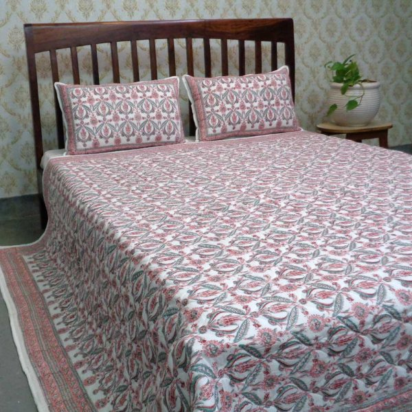 Hand Block Printed Cotton Quilted Bedspread Queen Size | 108579