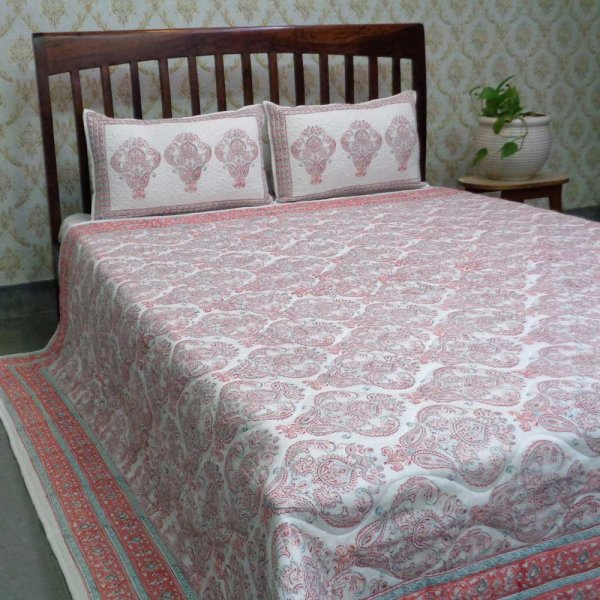 Hand Block Printed Cotton Quilted Bedspread Queen Size | 108588