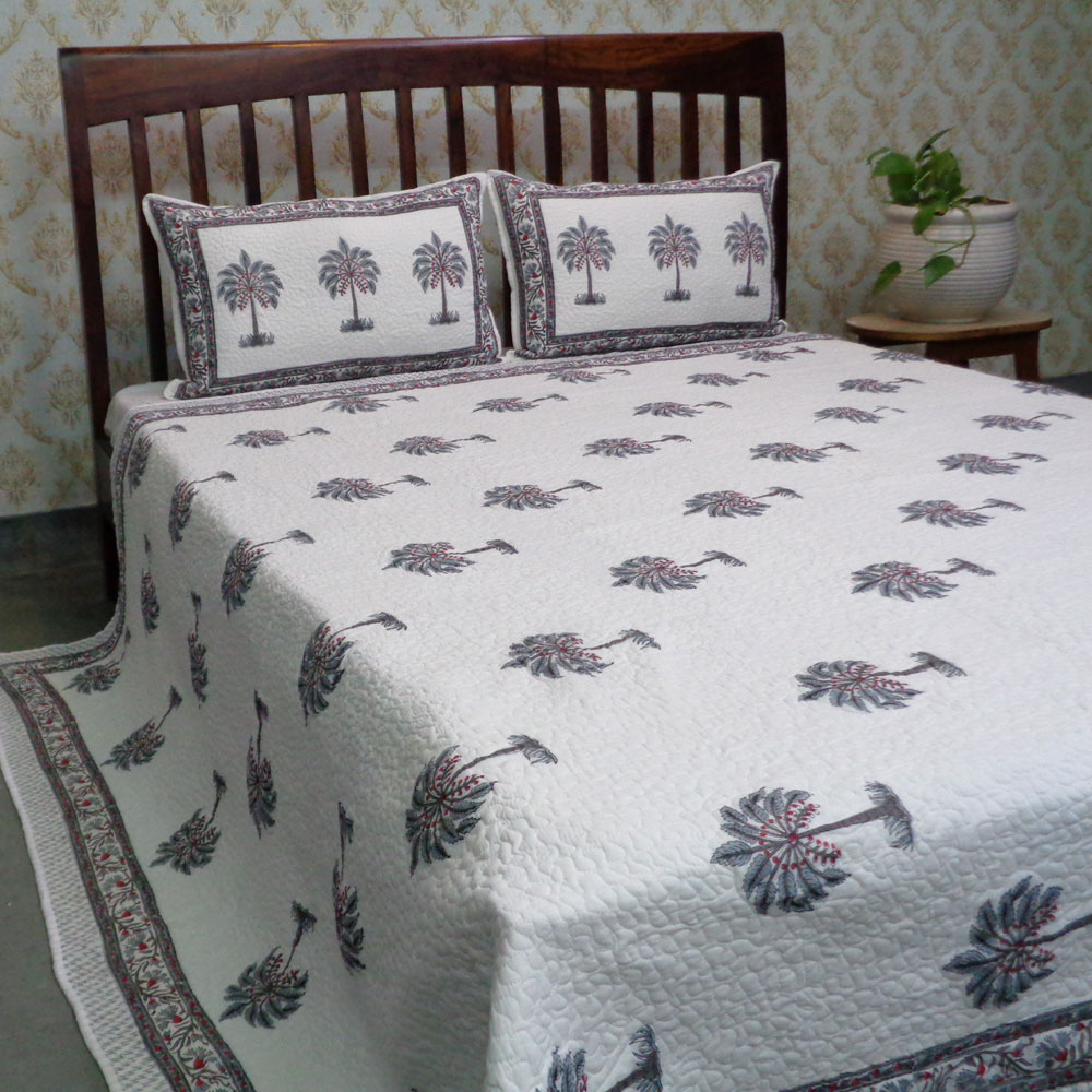 Indian Soft Cotton Quilted Bedspread Queen Size | 108630