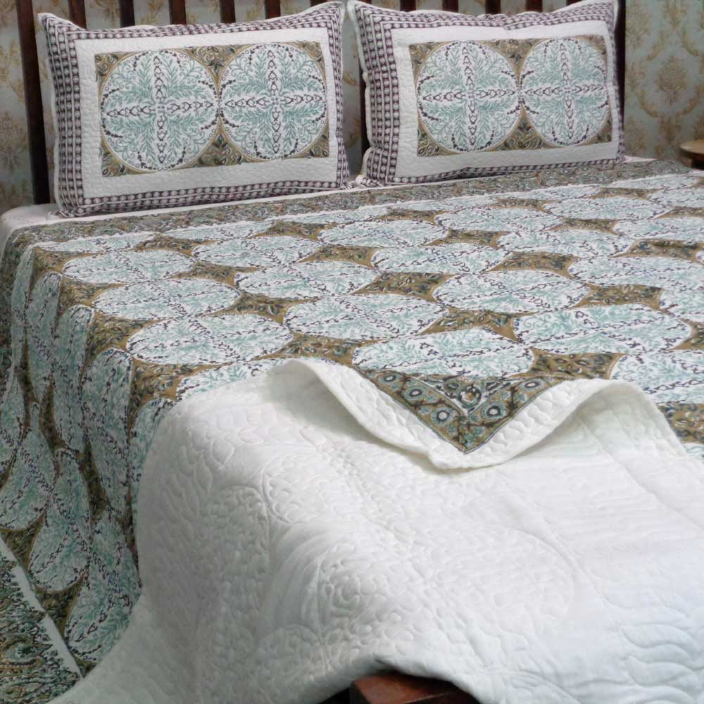 Indian Soft Cotton Quilted Bedspread Queen Size | 108681