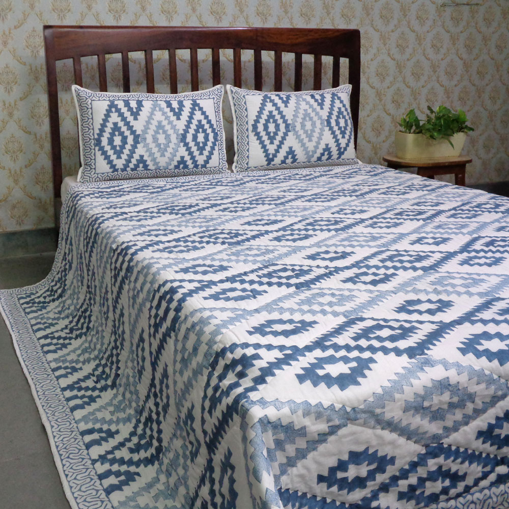 Hand Block Printed Soft Cotton Quilted Bedspread Queen Size | 205167