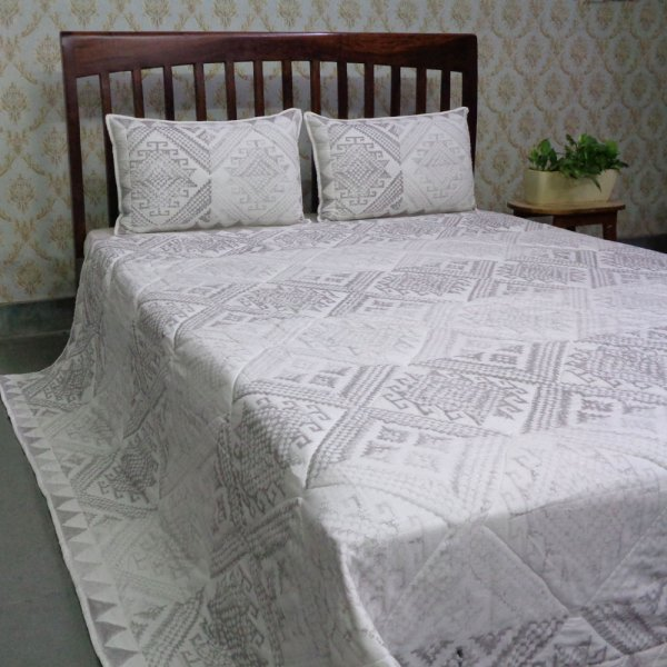 Hand Block Printed Soft Cotton Quilted Bedspread Queen Size | 205264