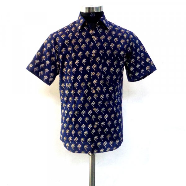 Hand Block Printed Men's  Shirt Half Sleeves | 109800