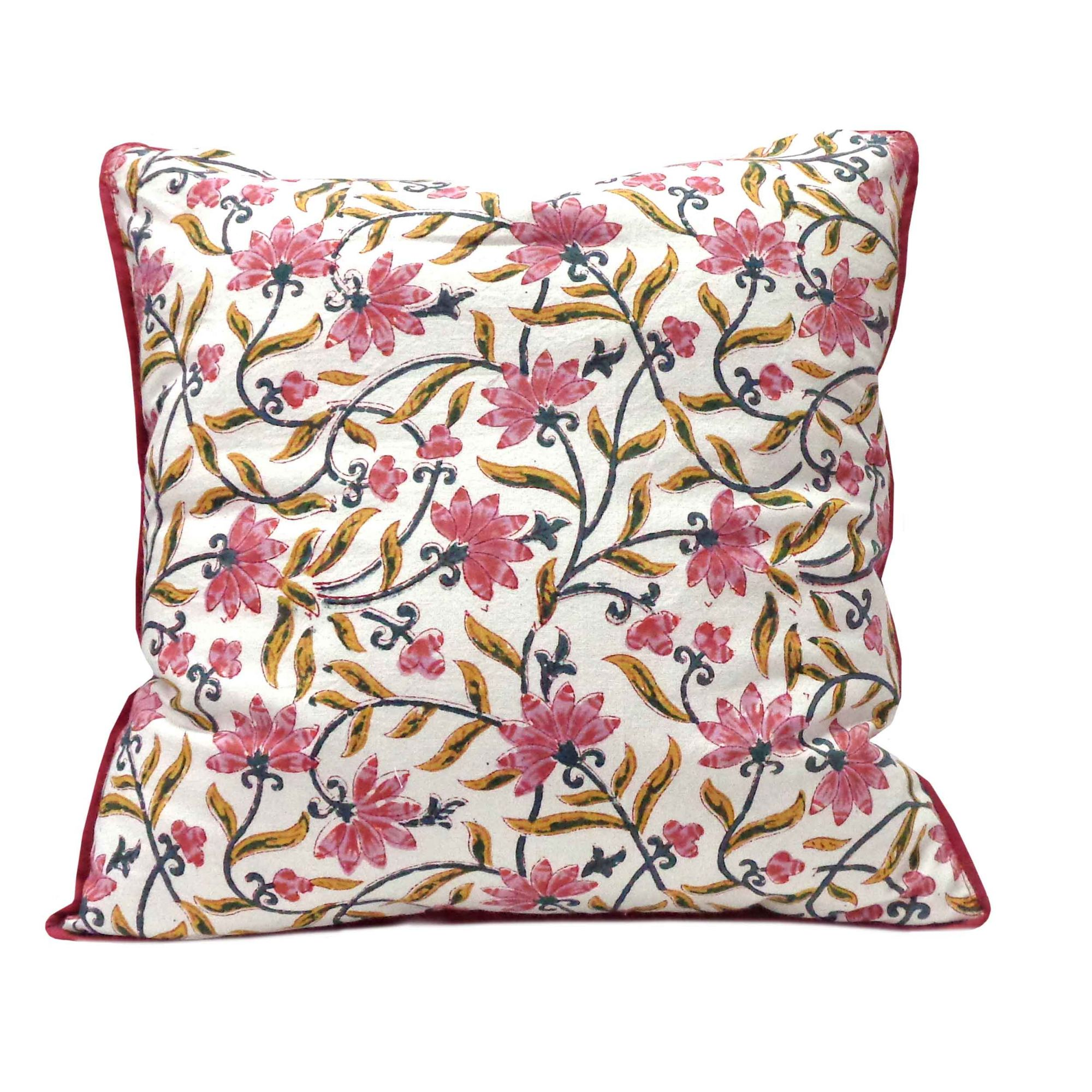 Hand Block Printed Cotton Cushion Cover 40x40 cms | 101093