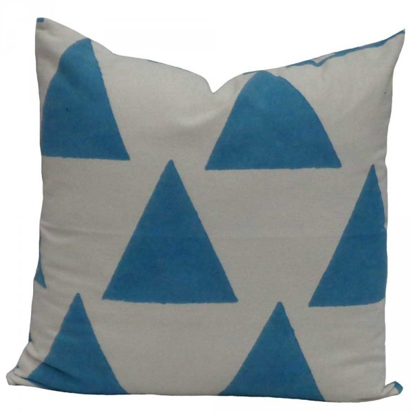 GEO AQUA 6333 Hand Block Printed Cushion Covers 40 x 40 cms | Block Printed Cushion