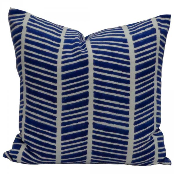 HERRINGBONE BLUE 6340 Hand Block Printed Cushion Covers 40 x 40 cms | Block Printed Cushion